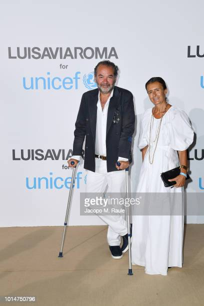 Remo Ruffini and Francesca Ruffini attend a photocall for the Unicef Summer Gala Presented by Luisaviaroma at Villa Violina on August 10 2018 in...