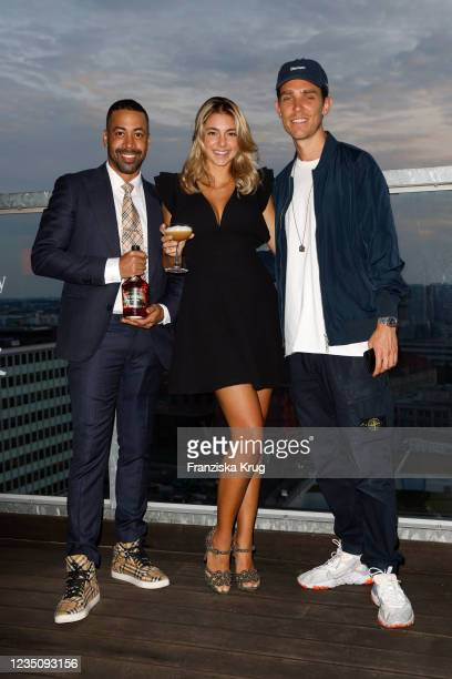 """Remo Schmid, Moira Musio and DJ Cruz during the """"Hennessy Very Special x Les Twins"""" launch event during the Mercedes-Benz Fashion Week Berlin..."""