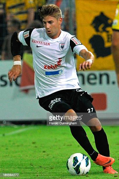 Remo Staubli of FC Aarau in action during the Swiss Super League match between FC Aarau v BSC Young Boys at Brugglifeld on August 10 2013 in Aarau...