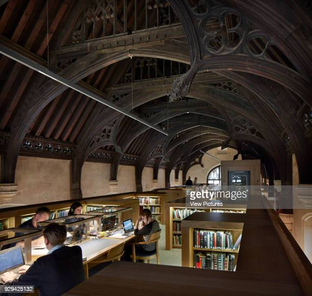Remodeled interior of Buckler building third floor with study desks Longwall Library Oxford United Kingdom Architect Wright Wright Architects LLP 2016