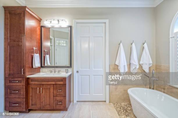 remodeled master bathroom - bathroom stock photos and pictures