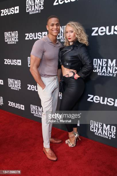 """Remonde L Levy and FaithyJ attend Zeus Network's """"One Mo Chance"""" Season 2 Premiere at AMC Universal at City Walk on September 19, 2021 in Universal..."""