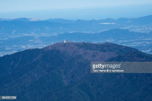 Remote Control Air Ground on top of Mt. Sangun in Iizuka city in Fukuoka prefecture in Japan daytime aerial view from airplane