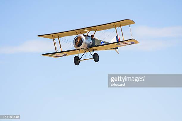 Remote Control Biplane in Flight