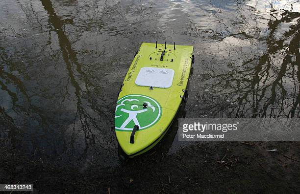 A remote control device known as an ARCBoat that is used to collect river level and current speed data is launched on the river Thames on February 10...