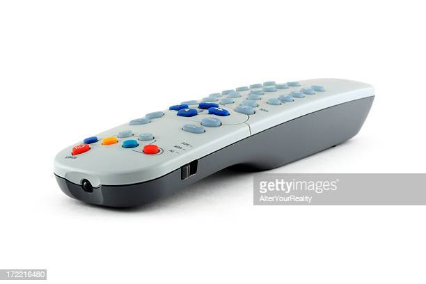 A remote control situated against a white background