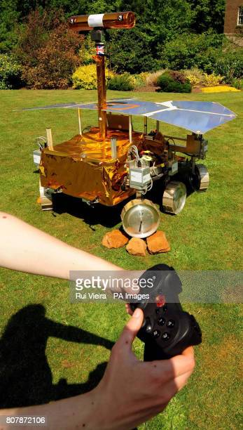 A remote control test of a development model of the Mars Rover called Bridget at the University of Leicester as a team of scientists from the...