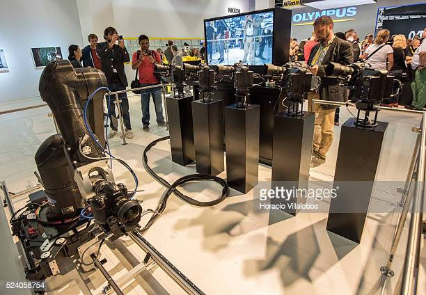 Remote controlled cameras at Nikon stand in Photokina 2014 in Cologne Germany 18 September 2014 Photokina the world's leading imaging fair brings...