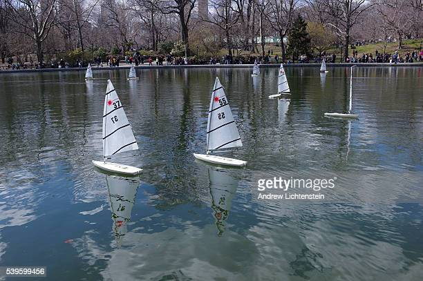 Remote controlled sal boats traverse the boat pond in New York City's Central Park on a spring weekend afternoon