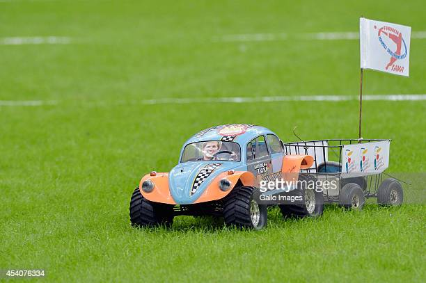 Remote controlled toy car with the picture of Anita Wlodarczyk on its front screen brings back the discus during the Kamila Skolimowska Memorial on...