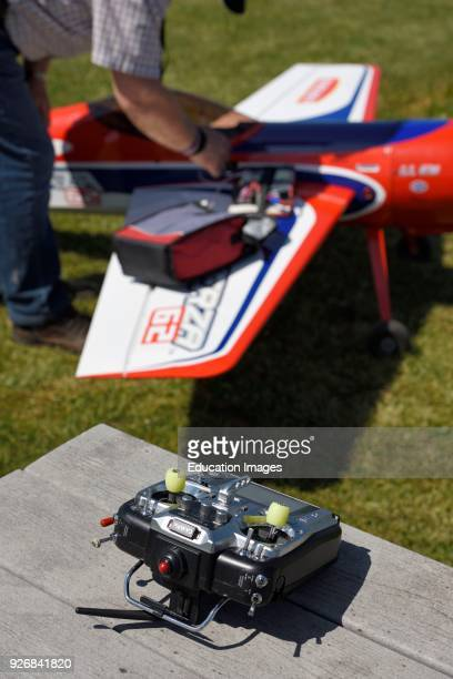 Remote controller for a radio controlled single prop gas engine aircraft