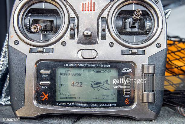 Remote controller of a drone used for training Ukrainian soldiers to control unmanned aerial vehicle in the field at Training Center of Ukrainian...