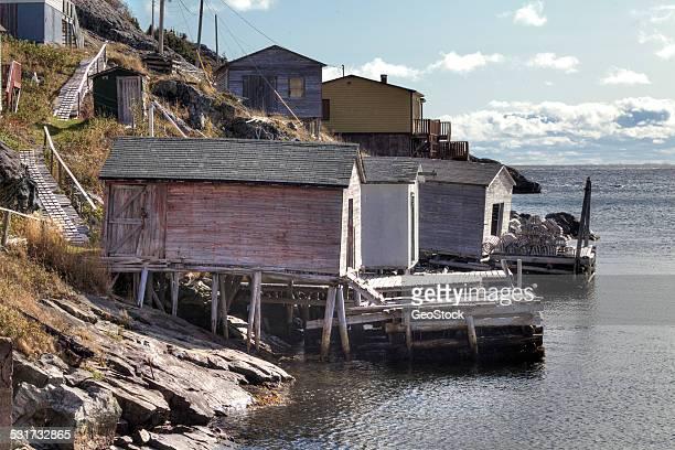 A remote fishing village scene