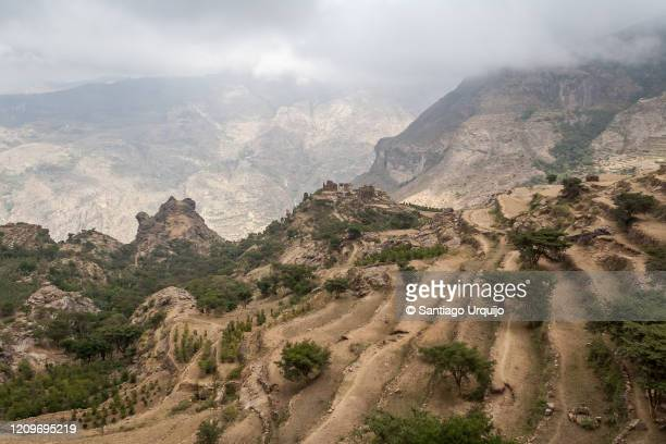 remote fortified village in haraz mountains - sanaa stock pictures, royalty-free photos & images