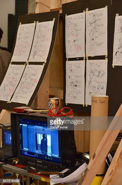 A remote monitor and storyboard on the Hong Kong film set of Rigor Mortis a horror film about vampires The film is Juno Mak's directorial debut and...