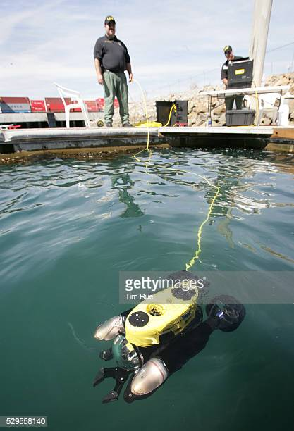A Remote Operated Vehicle is tested at the Port of Long Beach by Harbor Patrol officers prior to implementing the new equipment for underwater...