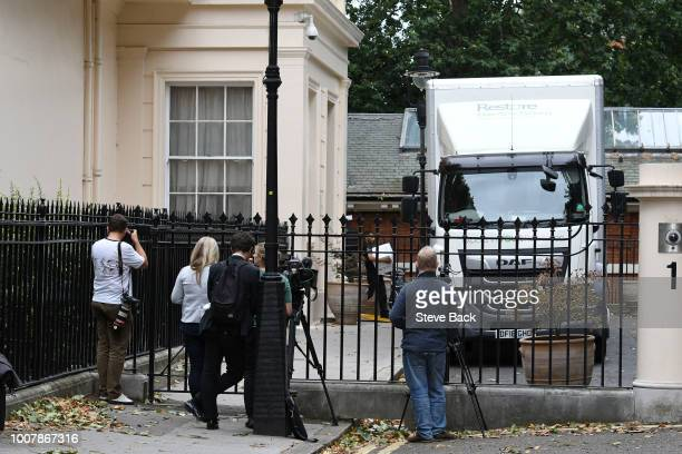 Removal men remove belongings from the former Foreign Secretary's graceandfavour residence in Carlton Gardens near Buckingham Palace on July 30 2018...
