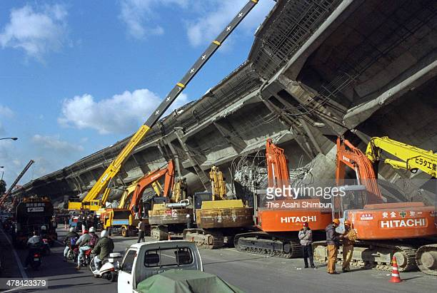 Removal work of the collapsed Hanshin Expressway begins on January 19 1995 in Kobe Hyogo Japan Magnitude 73 strong earthquake jolted in the morning...