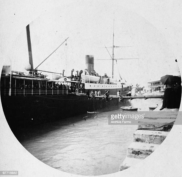Removing landing stage SS Trinidad Bermuda