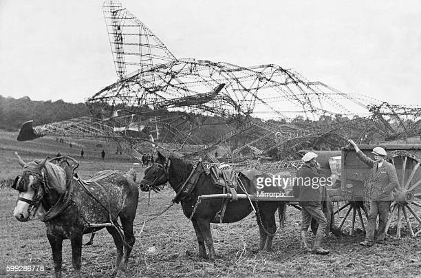 Removing the bodies of the the victims of the R101 airship crash from the scene of the disaster near Beauvais in France October 5th 1930