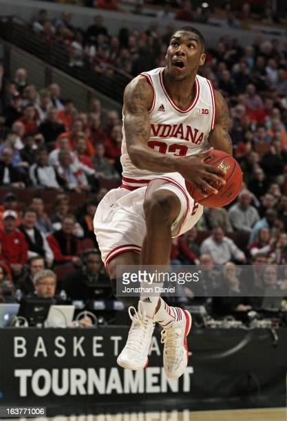 Remy Abell of the Indiana Hoosiers soars to the basket against the Illinois Fighting Illini during a quarterfinal game of the Big Ten Basketball...