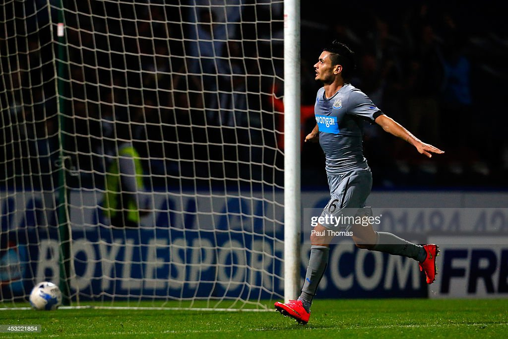 Remy Cabella of Newcastle celebrates his goal during the Pre Season Friendly match between Huddersfield Town and Newcastle United at the John Smith's Stadium on August 5, 2014 in Huddersfield, England.