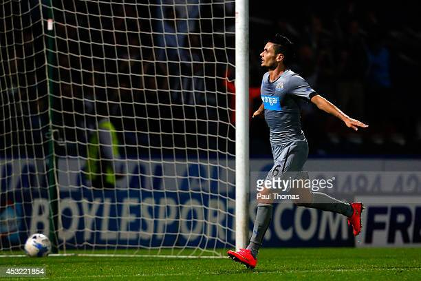 Remy Cabella of Newcastle celebrates his goal during the Pre Season Friendly match between Huddersfield Town and Newcastle United at the John Smith's...