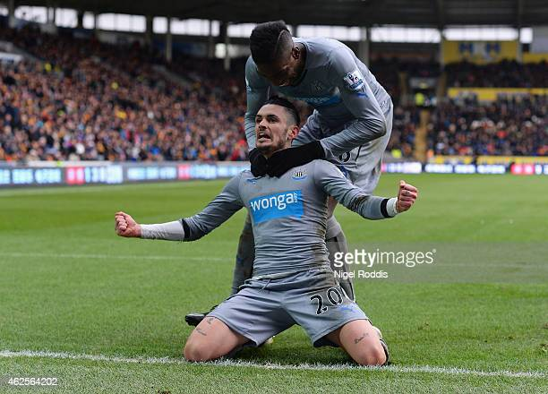 Remy Cabella of Newcastle United celebrates scoring the opening goal during the Barclays Premier League match between Hull City and Newcastle United...