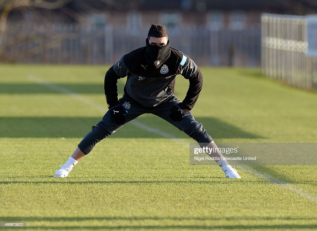 Remy Cabella of Newcastle United during a training session at The Newcastle United Training Centre on December 19, 2014 in Newcastle upon Tyne, England.