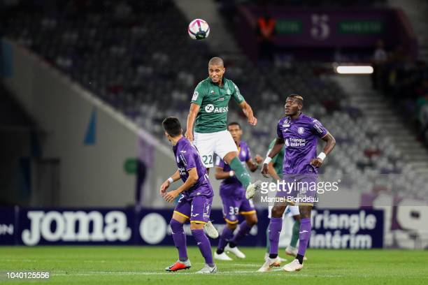 Remy Cabella of Saint Etienne scores a goal during the Ligue 1 match between Toulouse and St Etienne at Stadium Municipal on September 25 2018 in...