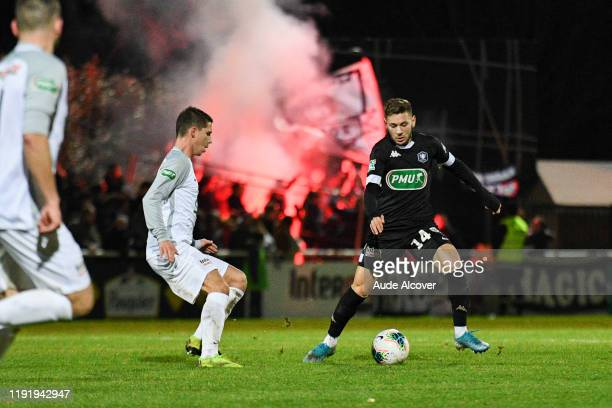 Remy CHOMBART of Dieppe and Farid EL MELALI of Angers during the French cup match between Dieppe and Angers on January 5 2020 in Dieppe France