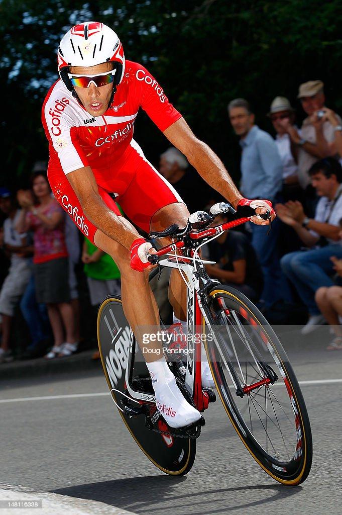 Remy Di Gregorio of France riding for Cofidis competes in the individual time trial on stage nine of the 2012 Tour de France from Arc-et-Senans to Besancon on July 9, 2012 in Besancon, France. Police officers and gendarmes of the French Central Office against Environmental Damage and Public Health raided the Cofidis team hotel in Bourg-en-Bresse and have taken Di Gregorio into custody on a doping-related case.