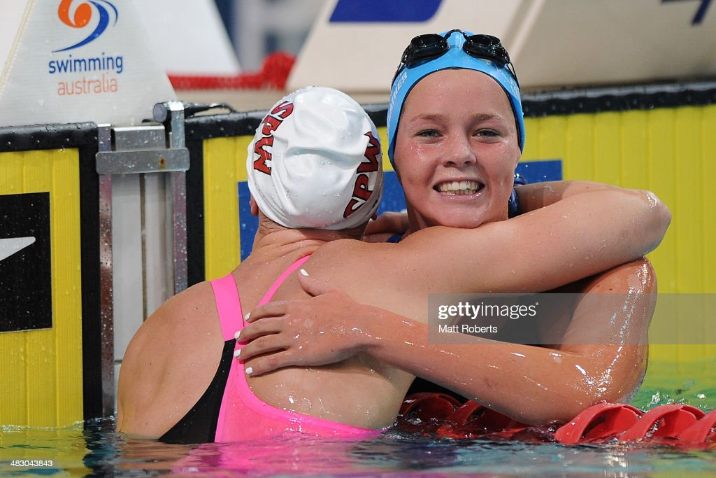 Remy Fairweather congratulates Bronte Barratt for winning the final of the Womens 400 metre Freestyle event during the 2014 Australian Swimming Championships at Brisbane Aquatic Centre on April 6, 2014 in Brisbane, Australia.