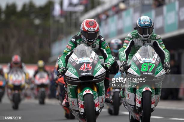 Remy Gardner of Australia and Onexox TKKR Sag Team leads Tetsuta Nagashima of Japan and Onexox TKKR Sag Team and start from box during the MotoGP of...