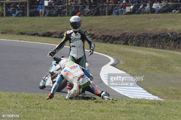 Remy Gardner of Australia and Team Tasca Scuderia Moto2 and Hafizh Syahrin of Malaysia and Petronas Raceline Malaysia crashed out during the Moto2...