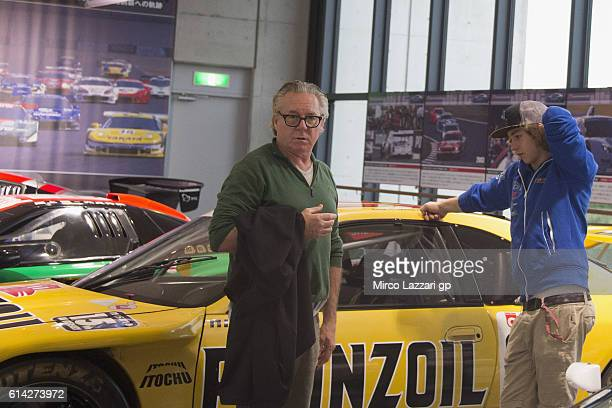 Remy Gardner of Australia and Team Tasca Scuderia Moto2 and his father Wayne Gardner look on in the Honda Museum during the MotoGP of Japan Previews...