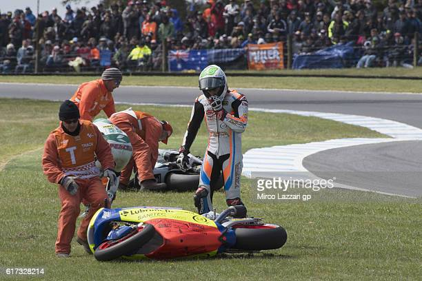 Remy Gardner of Australia and Team Tasca Scuderia Moto2 crashed out during the Moto2 race during the MotoGP of Australia Race during the 2016 MotoGP...