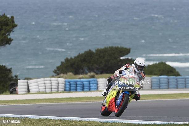 Remy Gardner of Australia and Team Tasca Scuderia Moto2 heads down a straight during the qualifying practice during qualifying for the 2016 MotoGP of...