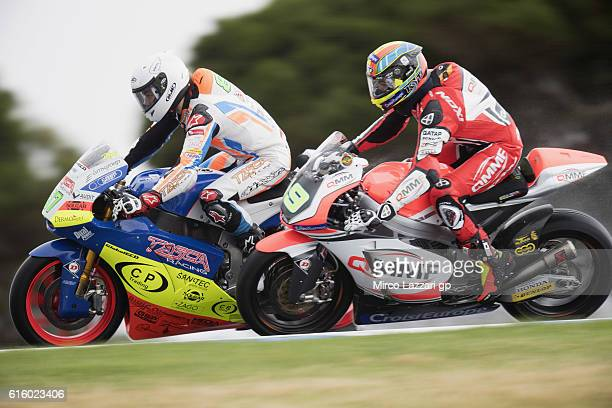 Remy Gardner of Australia and Team Tasca Scuderia Moto2 leads the field during free practice for the 2016 MotoGP of Australia at Phillip Island Grand...