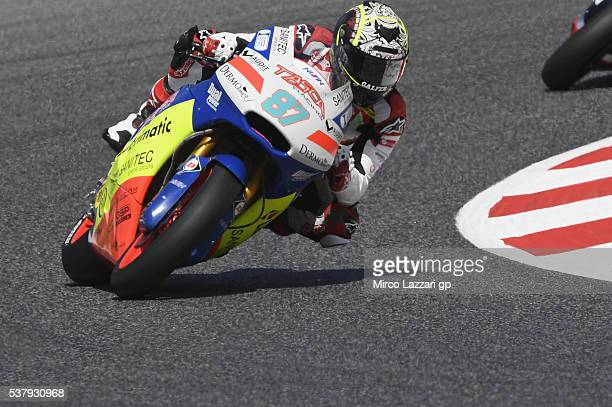 Remy Gardner of Australia and Team Tasca Scuderia Moto2 rounds the bend during the free practice during the MotoGp of Catalunya Free Practice at...