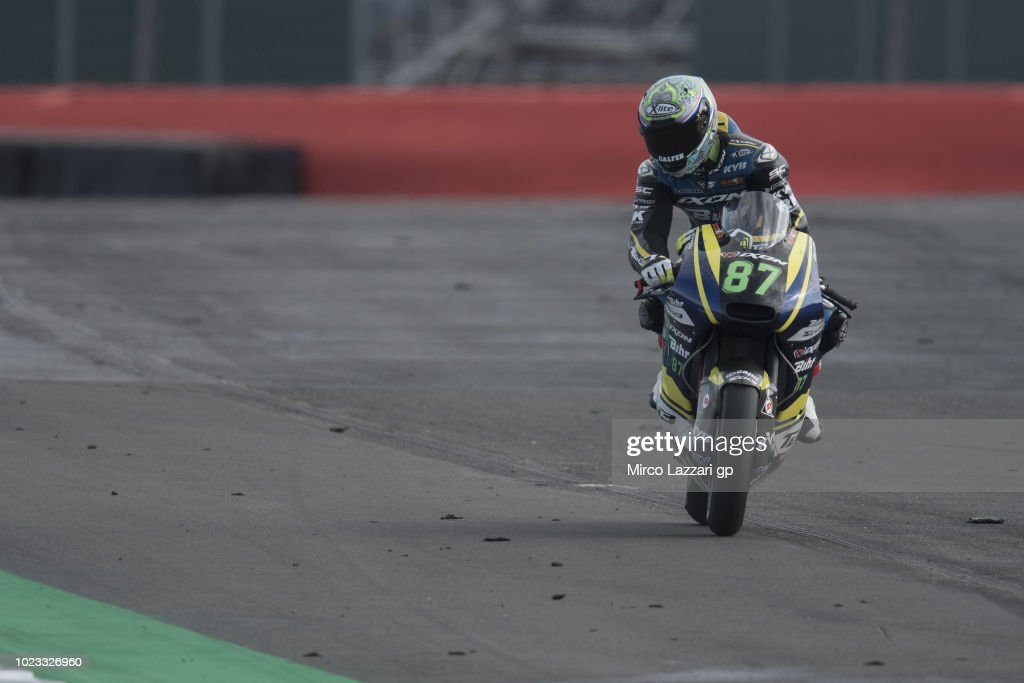 Remy Gardner of Australia and Tech3 Racing heads down a straight during the qualfying practice during the MotoGp Of Great Britain - Qualifying at Silverstone Circuit on August 25, 2018 in Northampton, England.