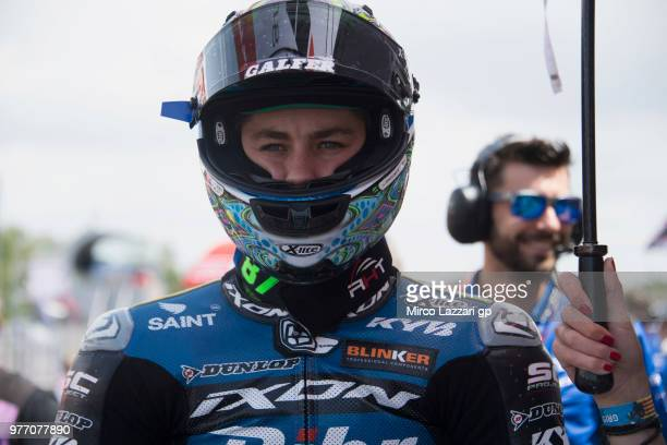 Remy Gardner of Australia and Tech3 Racing prepares to start on the grid during the Moto2 race during the MotoGp of Catalunya Race at Circuit de...