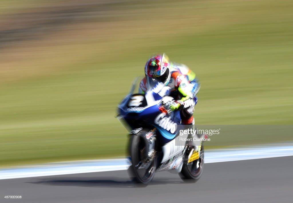 Remy Gardner of Australia rides the #3 Team Laglisse Calvo during Moto3 free practice for the 2014 MotoGP of Australia at Phillip Island Grand Prix Circuit on October 17, 2014 in Phillip Island, Australia.