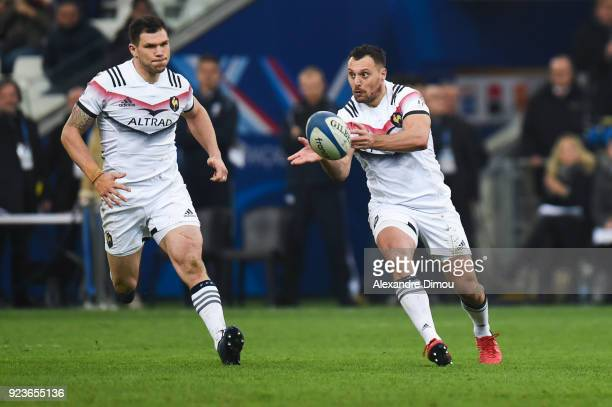 Remy Grosso and Lionel Beauxis of France during the NatWest Six Nations match between France and Italy at Stade Velodrome on February 23 2018 in...