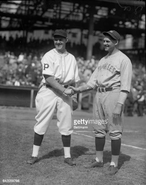 Remy Kreamer of Pittsburgh and Waite Hoyt, Yankees, pitchers for the 1st World Series game.