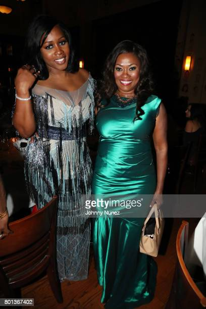 Remy Ma and actress/ philanthropist Angela Kissane attend A Toast To Prodigy at The Palm Restaurant on June 25 2017 in Los Angeles California