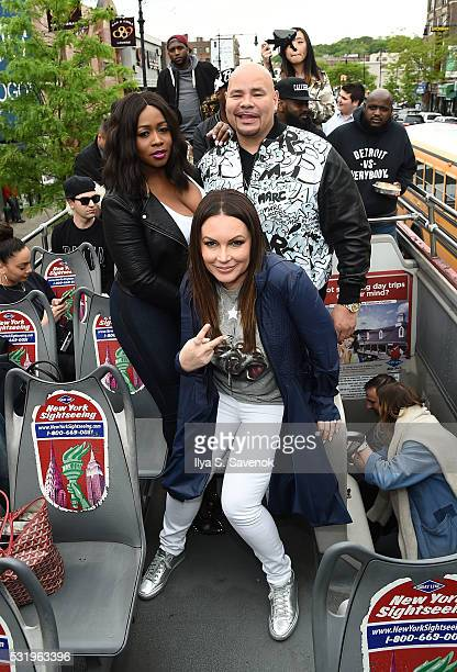 Remy Ma Angie Martinez and Fat Joe pose at Ride Of Fame ride with My Voice at Bryant Park on May 17 2016 in New York City