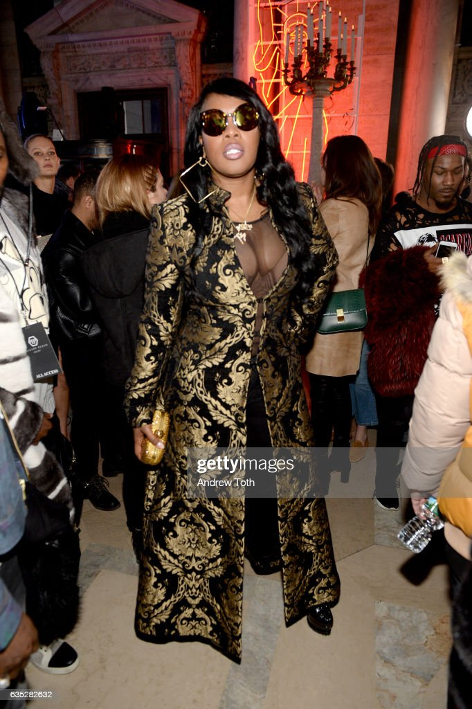 Remy Ma attends the Front Row for the Philipp Plein Fall/Winter 2017/2018 Women's And Men's Fashion Show at The New York Public Library on February 13, 2017 in New York City.