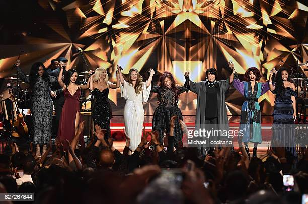 Remy Ma Serayah Bebe Rexha Jojo Chaka Khan Patti LaBelle Teyana Taylor and Diana Gordon perform onstage during the 2016 VH1's Divas Holiday Unsilent...