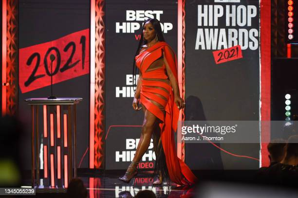 Remy Ma speaks onstage during the 2021 BET Hip Hop Awards at Cobb Energy Performing Arts Centre on October 01, 2021 in Atlanta, Georgia.